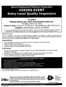 03-17-15 JOB POSTING FOR QUALITY INSPECTORS