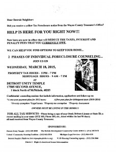 03-17-15 TAX FORECLOSURE INFO