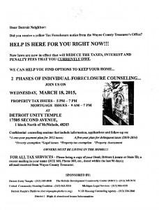03-17-15 TAX FORECLOSURE INFO