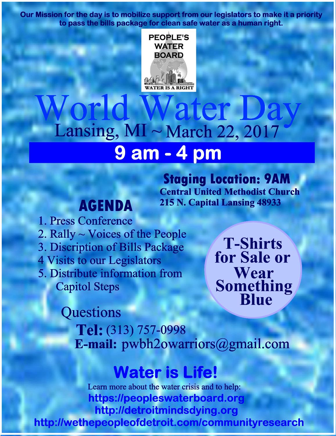 Call to Action! World Water Day March 22nd, 2017 | Rosa parks